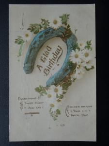 Greeting A GLAD BIRTHDAY - NATAL DAY - LUCKY HORSESHOE c1916 Postcard by Artige