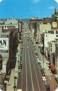Syracuse NY Business District Storefronts Aerial View Postcard