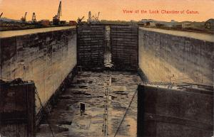 View of the Lock Chamber of Gatun, Canal Zone, Early Postcard, Unused