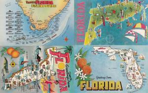 Florida Fishing Guide Sailing Boats 4x Vintage Map Postcard s