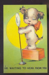 WAITING TO HEAR FROM YOU CUTE PUPPY DOG VINTAGE COMIC POSTCARD MICROPHONE