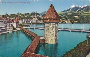 Switzerland Luzern Kapellbruecke und Rigi 1949