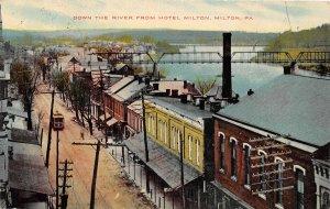 H56/ Milton Pennsylvania Postcard 1910 Down the River Stores Trolley Bridge