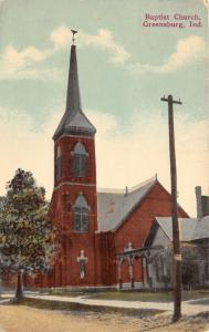 Greensburg Indiana~Baptist Church~Tall Steeple~c1910 Postcard