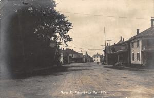 Princeton Maine~Man Walking Down Main Street~Dirt Road~Houses~Business~1914 RPPC