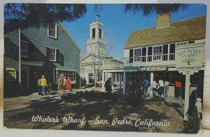 Town Hall Square Whaler's Wharf San Pedro California Vintage Postcard
