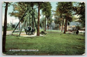 Lynchburg Virginia~Boys on Swing @ Rivermont Park~Shaded by Trees~1908 Rotograph