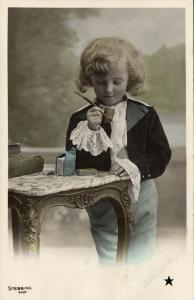 Beautiful Young Curly Girl with Smoking Tobacco Pipe (1910s) Stebbing RPPC II