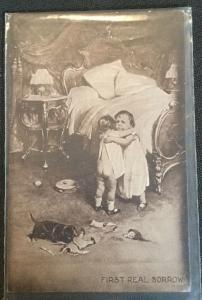 "Postcard Unused ""First Real Sorrow"" Children hugging Broken Doll LB"