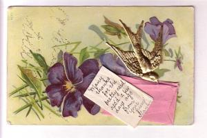 Appliqued, Metal Bird, Envelope with Note Inside, Pansies, Used in Canada