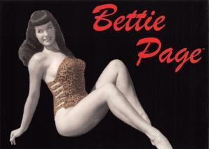 Postcard BETTIE PAGE in Leopard Skin Bikini 1950's Pin Up Girl Model Risque 2001