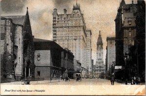 Broad St from Spruce Philadelphia PA early view wagons carriages undivided vtg