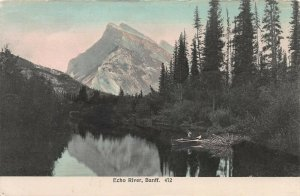 Echo River, Banff, Alberta, Canada, Early Hand Colored Postcard, Unused
