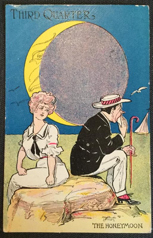 "Vintage Postcard Used Couple Third Quarter ""The Honeymoon""  LB"