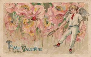 JOHN WINCH; Samuel Schmucker: 1910, Valentine, Cupid Playing Tennis