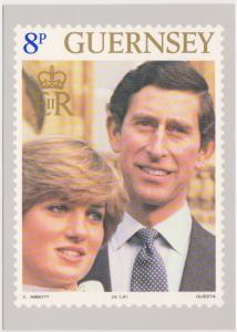 HRH PRINCE OF WALES AND LADY DIANA SPENCER WEDDING STAMP CARD - 8P - GUERNSEY
