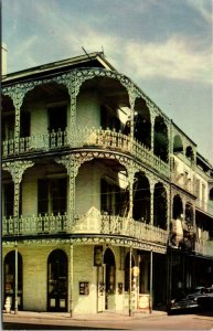 New Orleans LA - LACE BALCONIES STREET VIEW - Chrome Color Postcard