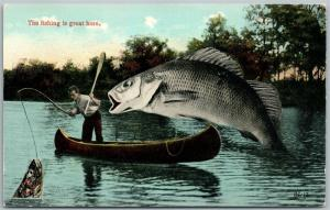 FISHING EXAGGERATED ANTIIQUE POSTCARD FISH IS GREAT HERE