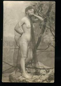135548 NUDE Woman NYMPH in Garden Vintage PHOTO France PC