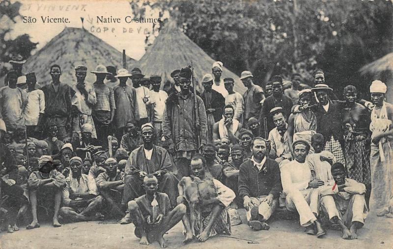 Cape Verde Sao Vicente native costumes Africa Postcard