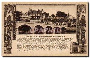 Old Postcard Amboise Chateau