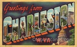 Charleston, West Virginia Large Letter Town Towns Post Cards Postcards  Charl...