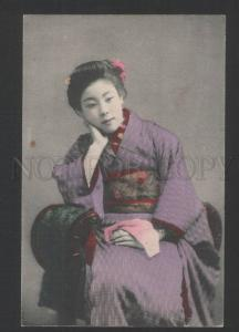 119406 Japan GEISHA girl w/ Scarf Vintage tinted PC