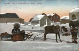 Teller AK Reindeer Sleigh Eskimo Ethnography c1910 Postcard