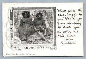 AUSTRALIAN ABORIGINES N.S.W. ANTIQUE POSTCARD w/ STAMPS
