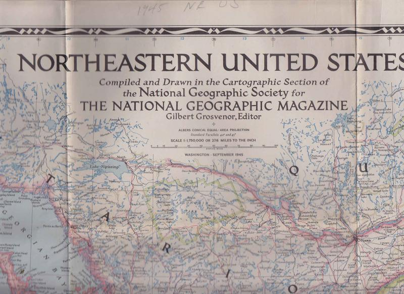 Map of Northeastern United States 1945