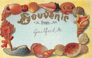 Guilford Maine Greetings Seashell Border Antique Postcard J73090