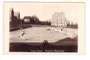 Real Photo, Students Playing on Tennis Courts, Princeton University, New Jersey