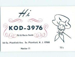 Pre-1980 RADIO CARD - CB HAM OR QSL South Plainfield New Jersey NJ AH0508