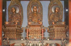 Three Giant Buddhas in Grand Hall - Jade Buddha Temple, Shanghai, China