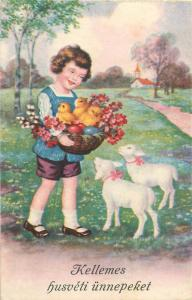 Hungary Easter fantasy cute girl caricature chickens lambs flowers 1930s