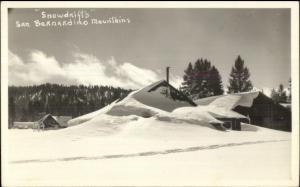 San Bernardino CA Buildings in Snowdrifts Real Photo Postcard