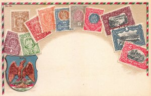 Mexico Stamps on Early Embssed Postcard, Unused, Published by Ottmar Zieher
