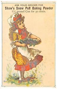 Advertising Post Card Shaw's Snow Puff Baking Powder Reproducion, Tradec...