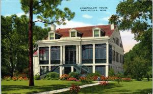 PASCAGOULA, MS Mississippi     LONGFELLOW  HOUSE     c1940s  Linen   Postcard