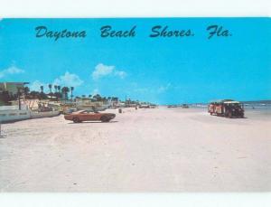 Pre-1980 PASSENGER TRAM TROLLEY DRIVING ON BEACH Daytona Beach Shores FL d7586