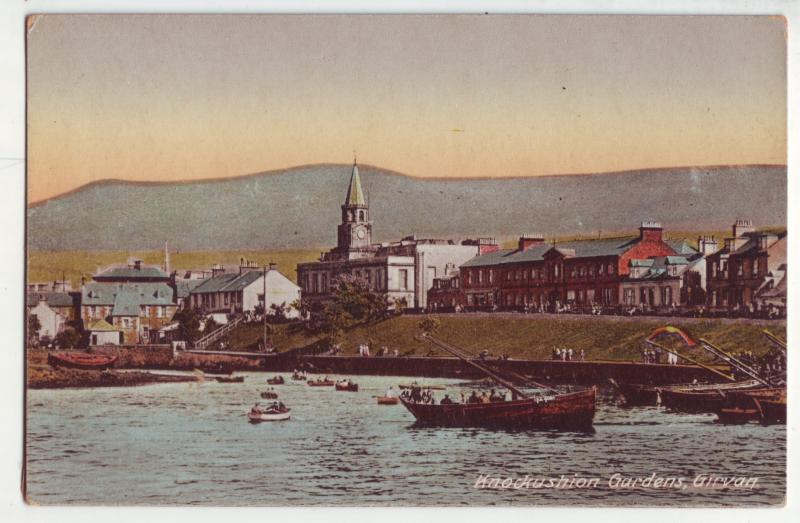 P904 old harbor view card boats town etc knockushion gardens girvan scotland