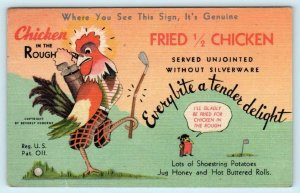 OKLAHOMA CITY, OK ~ Beverly's CHICKEN IN THE ROUGH 1953 Roadside Linen Postcard