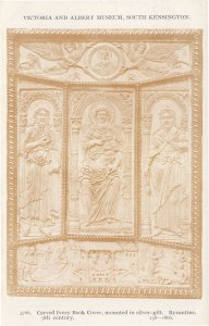 Carved Ivory Book Cover in Silver Gilt Byzantine V&A Old Postcard