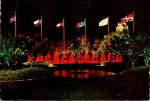 Texas Six Flags Over Texas Entrance Colorful Dancing Water Star Mall 1966