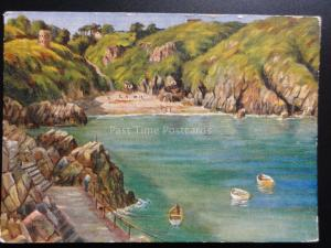 Guernsey: Saints Bay - Art by Peter M Wood, Old Postcard