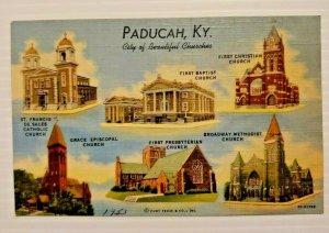 Paducah Kentucky City of Beautiful Churches 1953 Vintage Postcard Linen   562