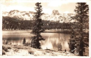 LPS15 Mammoth Lakes California View of Crystal Crag from Lake Mary Postcard RPPC