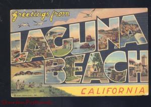 GREETINGS FROM LAGUNA BEACH CALIFORNIA LARGE LETTER LINEN VINTAGE POSTCARD