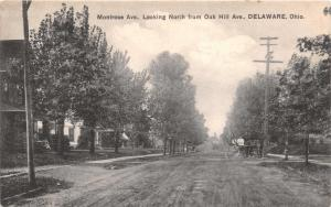 DELAWARE OHIO MONTROSE AVE LOOKING NORTH FROM OAK HILL AVENUE POSTCARD c1910s