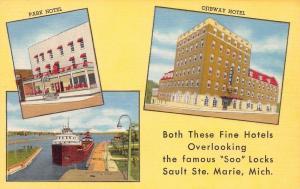 Soo MI Deglman Hotels~Park & Ojibway~Hay Fever Mecca of the World Linen 1954